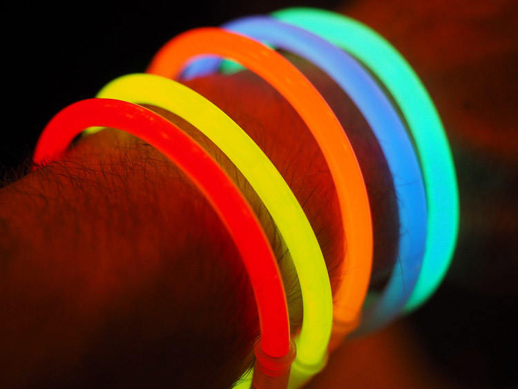 Remember those glowing things being worn at concerts? If you still have some lying around the house, pick them up and proceed to have fun!